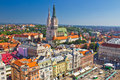 Zagreb main square and cathedral aerial view Royalty Free Stock Photo