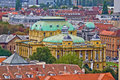 Zagreb rooftops and croatian national theater Stock Image