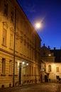 Zagreb Upper Town cobblestone street at dusk Royalty Free Stock Photo