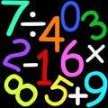 Zahlen und Zeichen Stockfoto