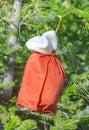 Zak met giften van santa claus op een bont boom Royalty-vrije Stock Afbeelding