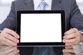 Zakenman die digitale tablet toont Stock Foto's