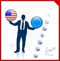 Zakenman holding united states Stock Afbeeldingen