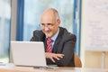 Zakenman looking at laptop bij bureau Royalty-vrije Stock Afbeeldingen