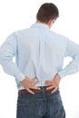 Zakenman suffering back pain op wit wordt geïsoleerd dat Royalty-vrije Stock Afbeeldingen
