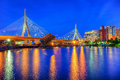 Zakim bridge in boston leonard p bunker hill memorial the serves as the northern entrance to and exit from Royalty Free Stock Photo