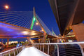 Zakim bridge and north bank walkway at night Stock Photos