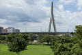 Zakim bridge from Paul Revere park in Boston Royalty Free Stock Photography