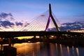 Zakim bunker hill memorial bridge at sunset in boston massachusetts Royalty Free Stock Photos