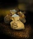 Zakken geld in ruimte Stock Fotografie