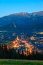Zakopane the view at night city poland Stock Image