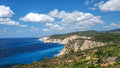 Zakynthos cliff panorama with clear water, blue sky and white cl Royalty Free Stock Photo