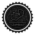 Zambia Map Label with Retro Vintage Styled Design.