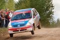 Zamir Irakov drives a white Renault Logan Stock Images