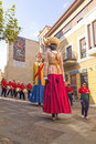 Zamora spain august giants and big heads gigantes y cabezudos during the celebration of the cultural summer exhibition Royalty Free Stock Images