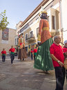 Zamora spain august giants and big heads gigantes y cabezudos during the celebration of the cultural summer exhibition Stock Images