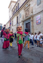 Zamora spain august giants and big heads gigantes y cabezudos during the celebration of the cultural summer exhibition Stock Photography