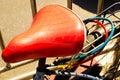 Zamyka up pięknego rocznika rowerowy siedzenie bicykl siedzenie rocznik Fotografia Royalty Free