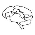Zap brain icon Royalty Free Stock Photo