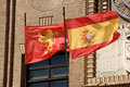 Zaragoza and Spain flags Royalty Free Stock Images