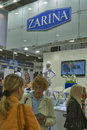 Zarina jewelry house booth visitors visit with presenters during spring jeweler expo exhibition at kyivexpoplaza exhibition center Stock Photos