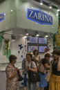 Zarina jewelry house booth visitors visit with presenters during spring jeweller expo exhibition at kyivexpoplaza exhibition Stock Photography