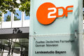 Zdf unterföhring sign infront of the television building in Stock Images