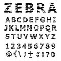 Zebra alphabet hand drawn vector font Stock Photography