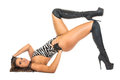 Zebra and boots on the floor fashionable female lying makes exercise isolated white Royalty Free Stock Photography