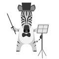 Zebra conductor illustration of a on a white background Royalty Free Stock Photography