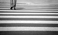 Zebra crossing man is walking on the Royalty Free Stock Photos