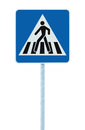 Zebra crossing, pedestrian cross warning street traffic sign in blue and pole post, isolated Royalty Free Stock Photo