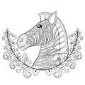Zebra in Floral frame. Vector zentangle Zebra Head illustration, Royalty Free Stock Photo