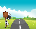 A zebra holding an empty wooden signboard along the road illustration of Royalty Free Stock Image