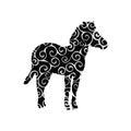 Zebra mammal color silhouette animal