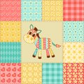 Zebra patchwork pattern vintage seamless cartoon background Royalty Free Stock Photography