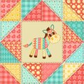 Zebra quilt pattern vintage patchwork seamless background Stock Photos
