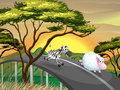 A zebra and a sheep running at the road illustration of Royalty Free Stock Photography