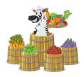A zebra and vegetables illustration of on white background Stock Images