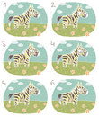 Zebra visual game children illustration eps mode task find two identical images match pair answer no Stock Photos