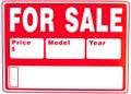 Zeichen âFor Saleâ mit Extrafeldern Lizenzfreie Stockbilder