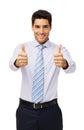 Zekere zakenman showing thumbs up Stock Afbeelding