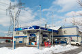 Zelenograd russia february gas station karat oil a Royalty Free Stock Images