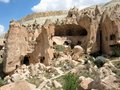 Zelve open air museum with rock formations homes and churches cappadocia turkye Stock Photos