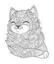 Zen art cat. Hand-drawn vector fluffy cat portrait in zentangle style for adult coloring page. Zen doodle.