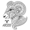 Zen art design of Aries zodiac sign for design element and coloring book page.Vector illustration Royalty Free Stock Photo