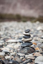 Zen balanced stones stack balance peace silence concept close up Royalty Free Stock Photo
