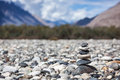 Zen balanced stones stack in himalayas mountains Royalty Free Stock Images