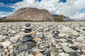 Zen balanced stones stack in himalayas mountains nubra valley ladakh jammu and kashmir india Stock Photos