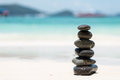 Zen Balancing Pebbles on Beach Royalty Free Stock Photo